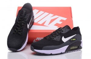 big sale 046e4 eefd5 Nike Air Max 90 Flyknit Black White Green Words Men s Running Shoes Sneakers