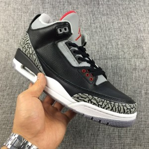 official photos d99f7 029af Nike Air Jordan 3 Retro Bred Black Cement Mens Athletic Basketball Shoes