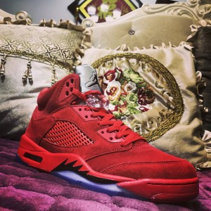 93fe066f942 Nike Air Jordan 5 Retro Red Suede 136027-602 Mens Athletic Basketball Shoes