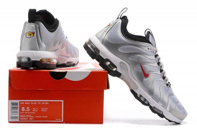 c61e47cb3a2392 Nike Air Max Plus Tn Ultra Silver Bullet Metallic Silver Varsity Red Black  White 903827 001 Men s Women s Running Shoes 903827-001