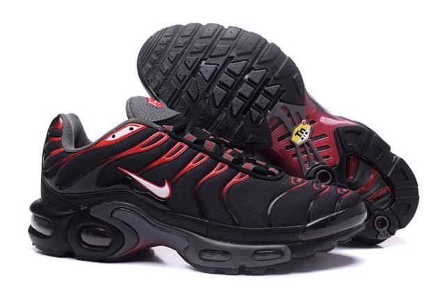 newest 43129 f5ae6 Nike Air Max Plus Tn Black University Red 604133 078 Men's Running Shoes  604133-078
