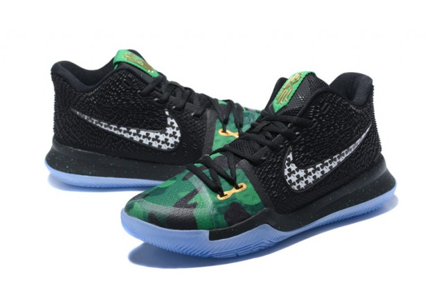 on sale 75609 d56a8 Nike Kyrie 3 III EP Irving All Saints Day Black Green Men's Basketball  Shoes NIKE-ST001536