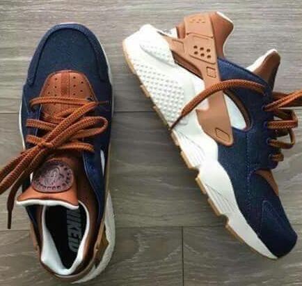 official photos 8407f 0b031 Nike Air Huarache iD Denim Brown White Mens Womens Casual Shoes