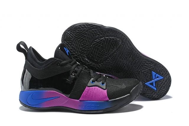 best website 60411 e30ce Nike PG 2 Paul George Black Purple Blue Men's Basketball Shoes NIKE-ST001414