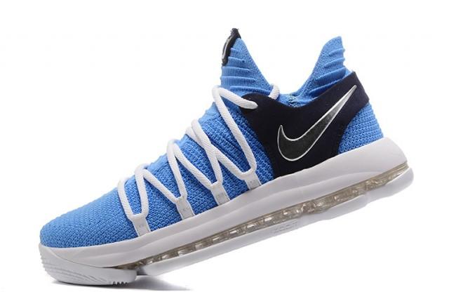 huge selection of 1aa2b ed8c4 Nike Zoom KD 10 EP Blue White Black Men s Basketball Shoes
