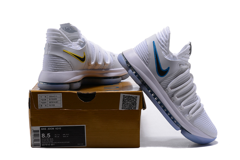 b6f2b1e014e6 Nike Zoom KD 10 LMTD EP NBA Championship Wolf Grigio Blue White Men s  Basketball Shoes