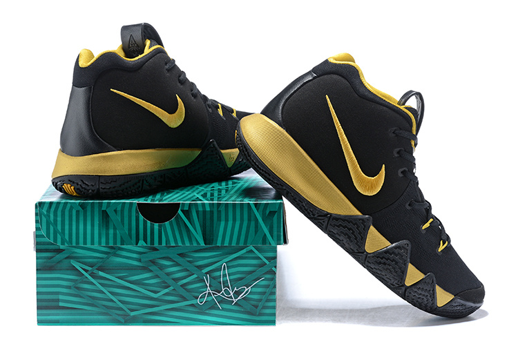 half off dc1cd ba429 Nike Kyrie Irving 4 Black Gold Men's Basketball Shoes NIKE-ST001596