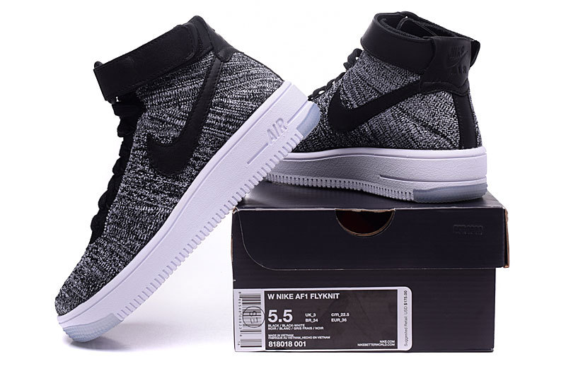 new styles cb7a3 bfa60 Nike Wmns Air Force 1 Ultra Flyknit Mid Black White Women's Men's Casual  Shoes Sneakers 818018-001