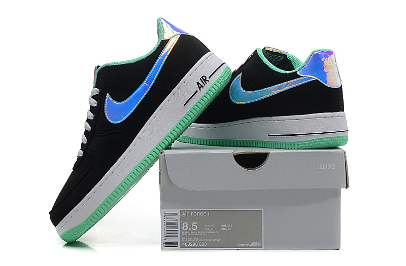 0bf1118a93c7 Nike Air Force 1 Low Black Shiny Silver Green Glow Women s Men s Casual  Shoes Sneakers