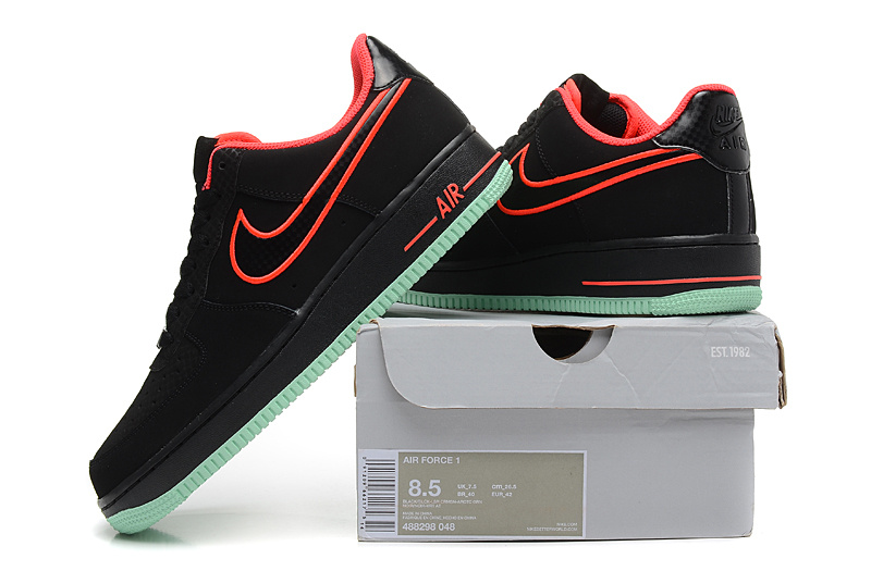 Nike Air Force 1 Yeezy Low Black Laser Crimson Arctic Green Mens Casual  Shoes Sneakers