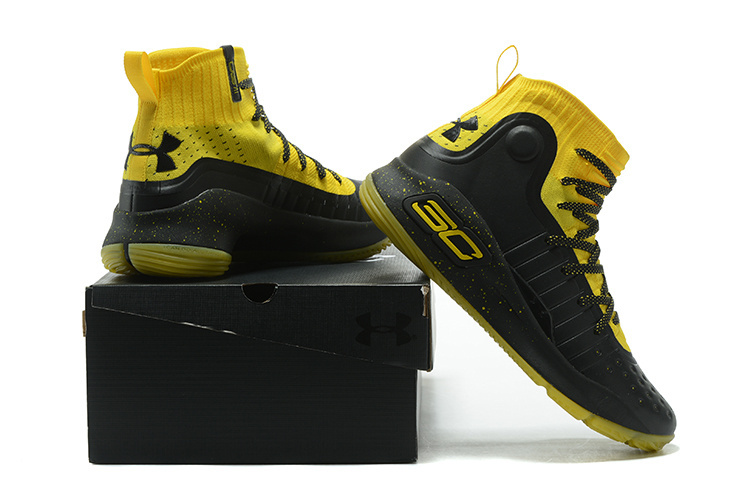 8eefcd002afe Under Armour Stephen Curry 4 Black Yellow Men s Basketball Shoes ...