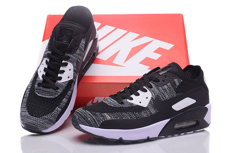 size 40 0a1d4 ff915 Nike Air Max 90 Flyknit Black White Grey Men's Running Shoes Sneakers  876320-011