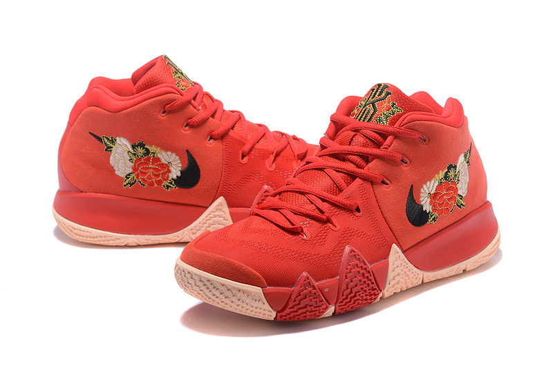 big sale f7709 d2860 Nike Kyrie 4 October Red Flower Men's Basketball Shoes NIKE-ST001583