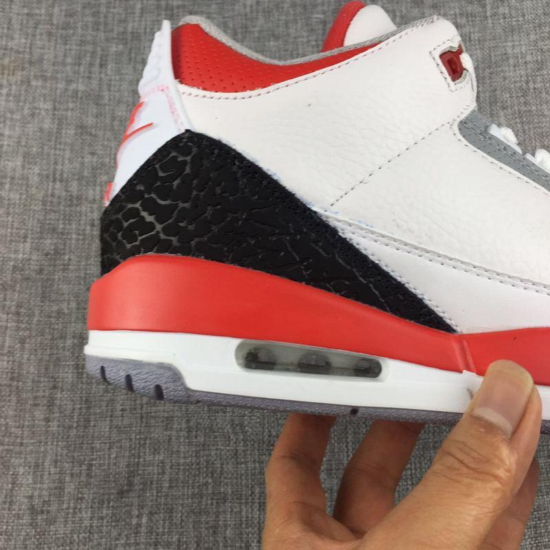 4a696ebfb6a3 Nike Air Jordan 3 Retro White Fire Red Silver Mens Athletic Basketball Shoes