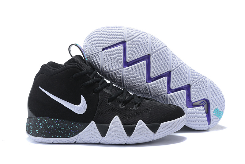 quality design b75d1 e52a5 Nike Kyrie 4 Black White Men's Basketball Shoes NIKE-ST001586