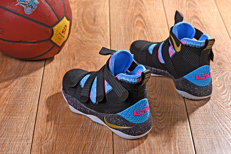 bb97b1f5759 Nike LeBron Soldier 11 XI Black Blue Multi-Color Men s Basketball Shoes