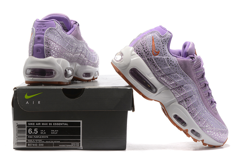 new styles 7efe9 73a76 Nike Air Max 95 Essential Plum Fog Lilac Purple Safari 807443 500 Women's  Running Shoes 807443-500