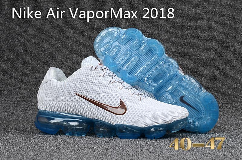 new concept 6a961 80f1f Nike Air Vapor Max 2018 KPU White Blue Men's Running Shoes NIKE-ST000558