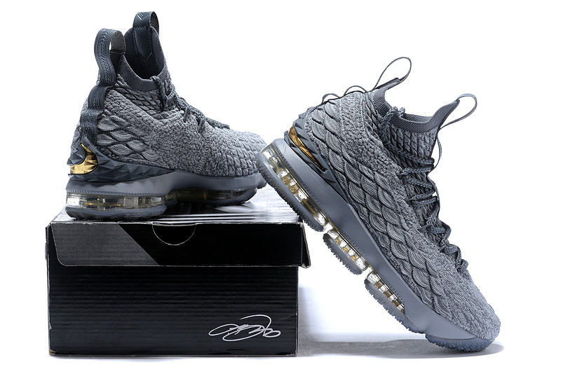 59bf69f80ef Nike Lebron 15 XV City Series Wolf Grey Metallic Gold Men s Basketball Shoes