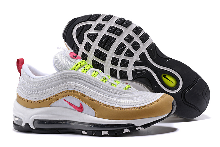 separation shoes c011c 4ea63 Nike Air Max 97 White Gold Pink Black Women's Running Shoes 312641-024