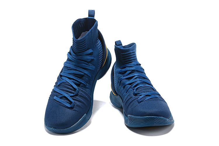 reputable site 6fbda 085a9 Under Armour Curry 5 Navy Blue Gold Men's Basketball Shoes NIKE-ST002057
