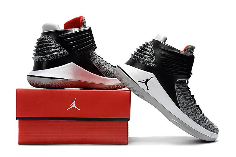 cf625253d5e5 Nike Air Jordan 32 Black Cement MVP Black White Wolf Grey University Red ...