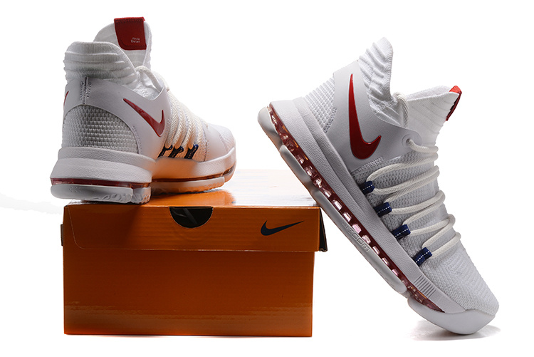 big sale 72845 546dc Nike KD 10 X Kevin Durant White Red Men's Basketball Shoes NIKE-ST001458