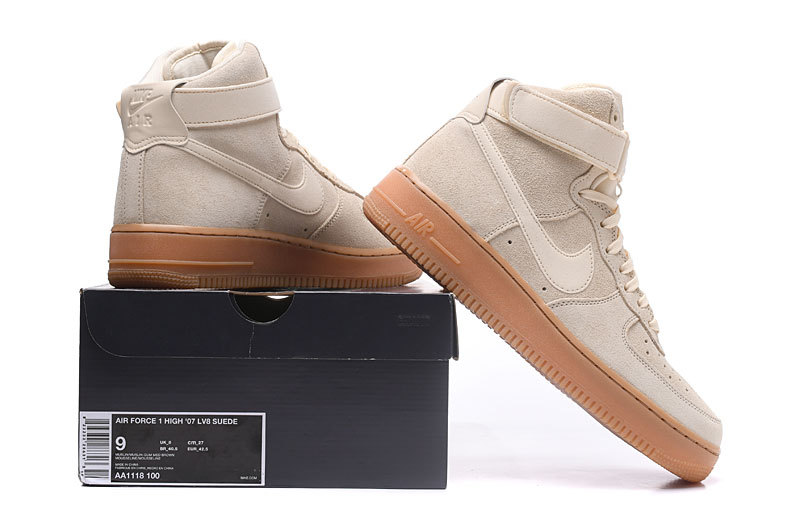 new concept 2b643 620fa Nike Air Force 1 High LV8 AF1 Suede Muslin Gum Med Brown Ivory Men's  Women's Running Shoes Sneakers AA1118-100