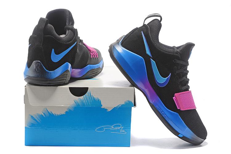 Paul George Nike PG 1 Black Photo Blue Blue Fury Deep Royal Blue ... afd2bb5de