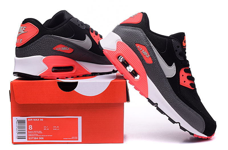 detailed look d5952 1d62a Nike Air Max 90 Essential Black Wolf Grey Atomic Red Anthracite Men s  Women s ...