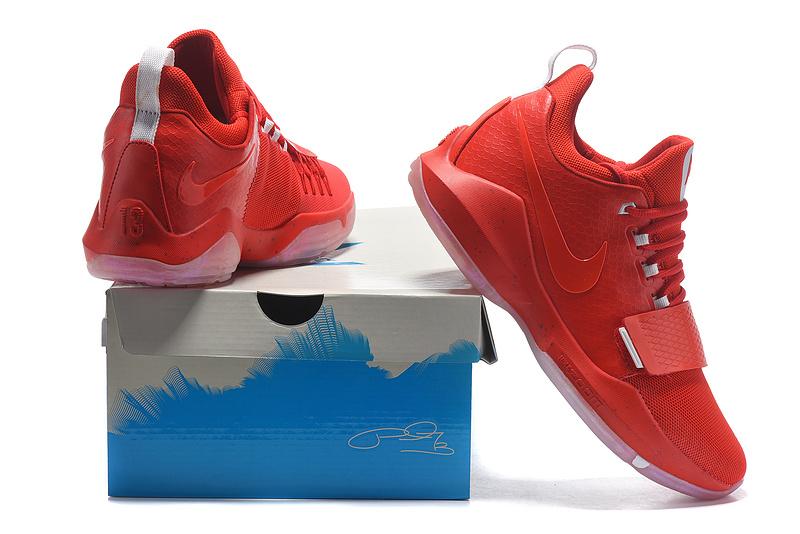 ed7fa5b44c8 Paul George Nike PG 1 Bright Red White Men s Basketball Shoes NIKE ...