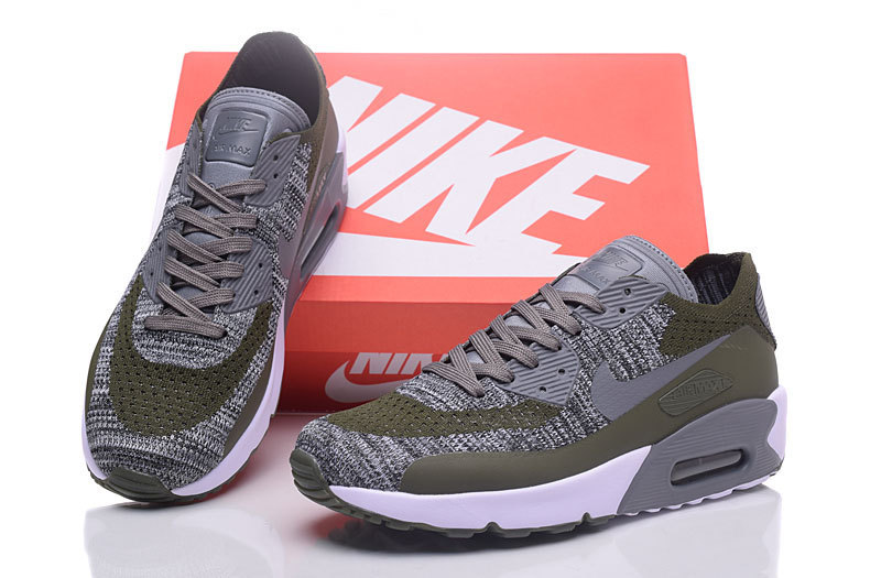 new concept 6ca89 6fe44 Nike Air Max 90 Flyknit Grey White Green Men's Running Shoes Sneakers  NIKE-ST000226