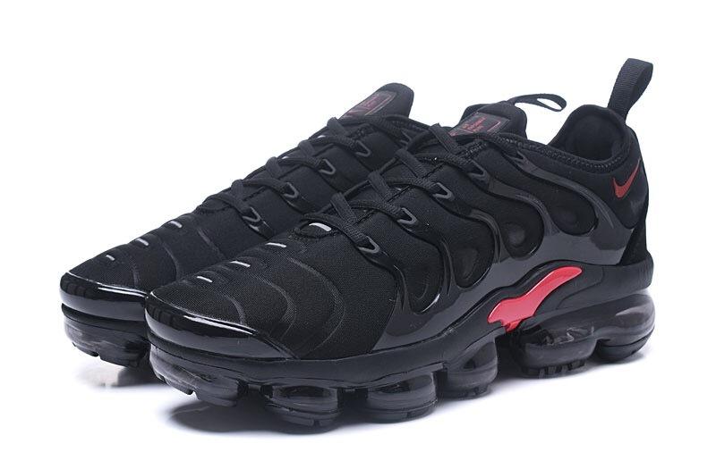 save off dc298 363b9 Nike Air VaporMax Plus TN Black Red Men's Running Shoes NIKE-ST000968