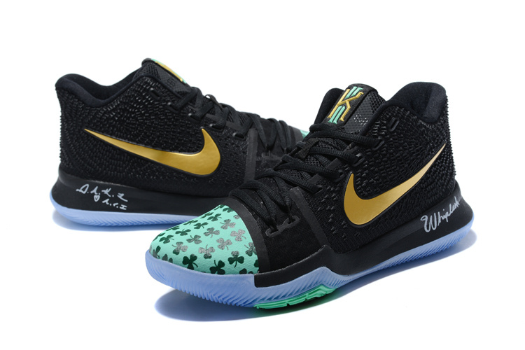 ebf1584ee720 Nike Kyrie 3 III EP Irving Celtics Black Green Gold Men s Basketball Shoes