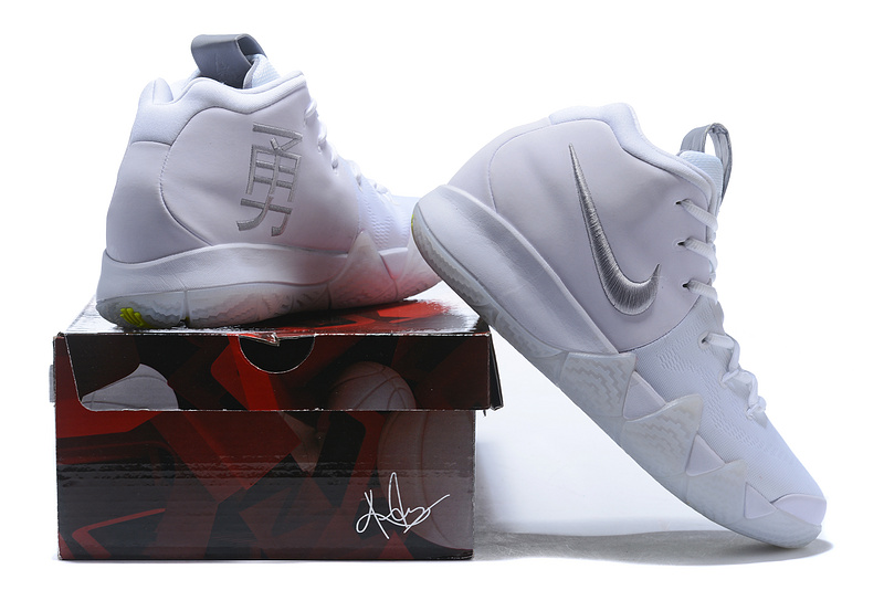 best service 4a067 4b36f Nike Kyrie 4 White Silver Courageous Men's Basketball Shoes NIKE-ST001570