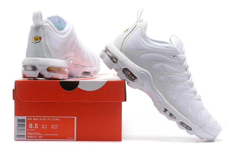 9bc4e3e16f1 Nike Air Max Plus TN Ultra Triple White 898015 109 Men s Women s Running  Shoes 898015-109