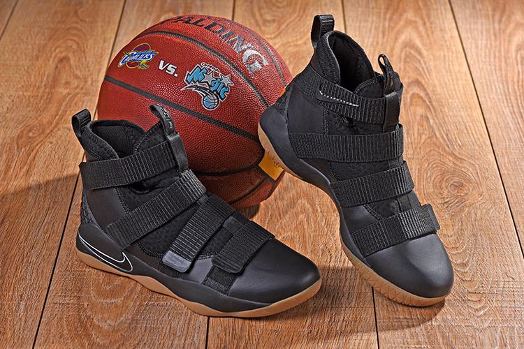 a55754da57dce Nike LeBron Soldier 11 XI Black White Gum Sole Men s Basketball ...