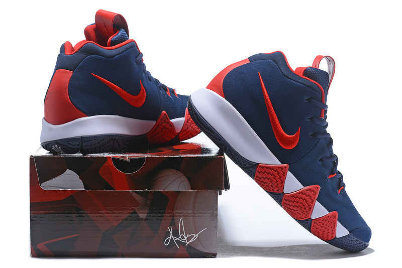 best deals on 4b6e3 93d91 Nike Kyrie 4 Navy Blue Red White Men's Basketball Shoes NIKE-ST001572