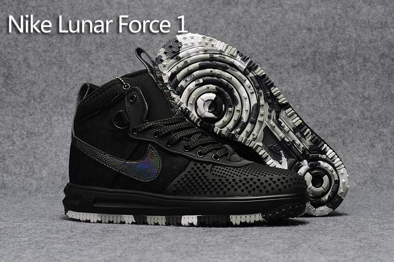5bfd4a6d9dae Nike Lunar Force 1 Duckboot KPU Black Camouflage Star Oreo Black Men s Casual  Shoes Sneakers