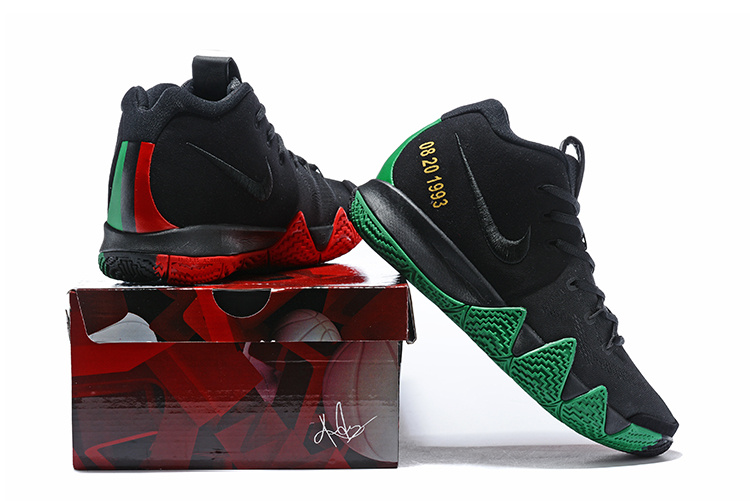 size 40 eb6f4 8d354 Nike Kyrie 4 Black Green Red Men's Basketball Shoes NIKE-ST001613