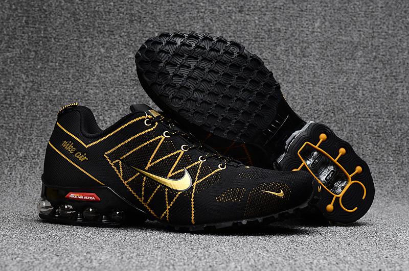 7ed3b4a04a6 Nike Air Ultra Max 2018. 5 Shox Black Gold Men s Running Shoes NIKE ...