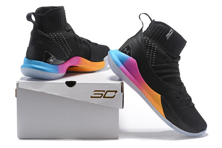 df51e52c5192 Under Armour Curry 5 Black Multi-Color Men s Basketball Shoes NIKE ...