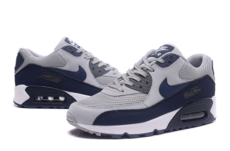 competitive price 624b6 dab78 Nike Air Max 90 Essential Wolf Grey Binary Blue White Men s Running Shoes  Sneakers