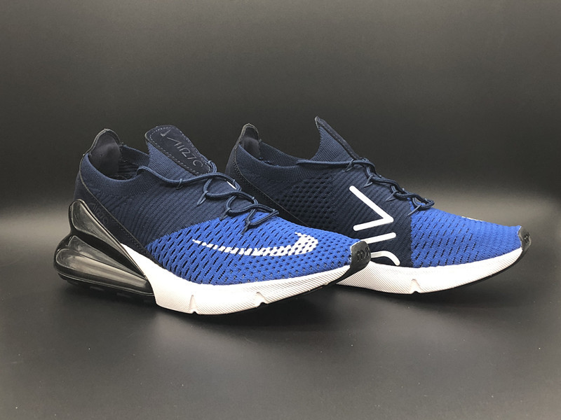 competitive price c3a18 6a8c2 Nike Air Max 270 Flyknit Royal Blue Black White Men s Running Shoes