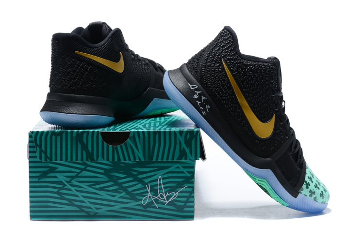 7d3967128b68 Nike Kyrie 3 III EP Irving Celtics Black Green Gold Men s Basketball Shoes