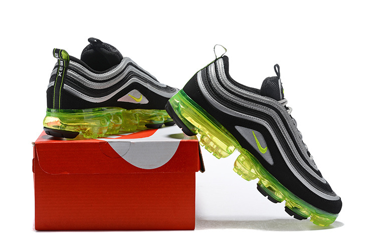 ce2598b3724 Nike Air VaporMax 97 Silver Bullet Black Metallic Silver White Volt Women s  Men s ...