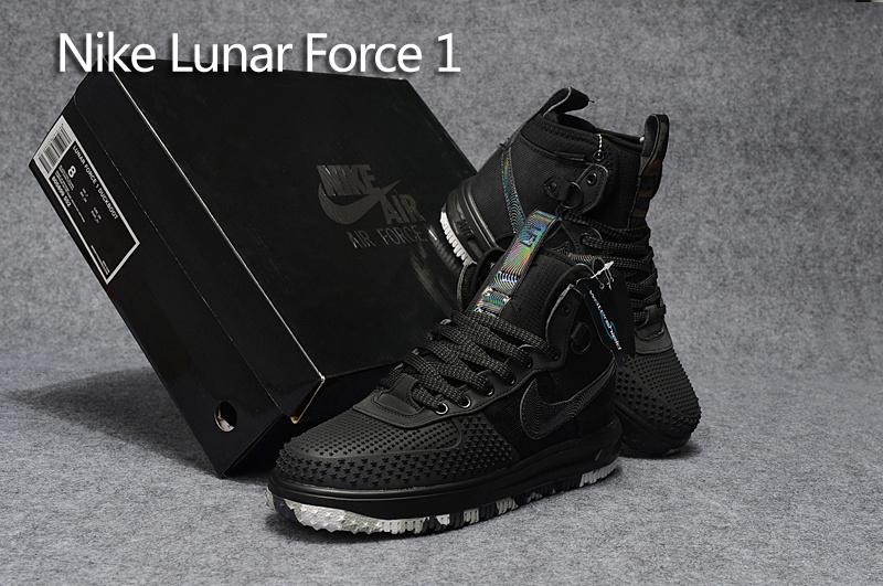 Nike Lunar Force 1 Duckboot KPU Black Camouflage Star Oreo Black Men's Casual Shoes Sneakers NIKE ST000527