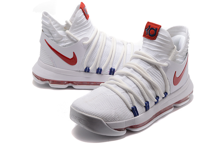 d487a57b71b6 Nike KD 10 X Kevin Durant White Red Men s Basketball Shoes NIKE ...