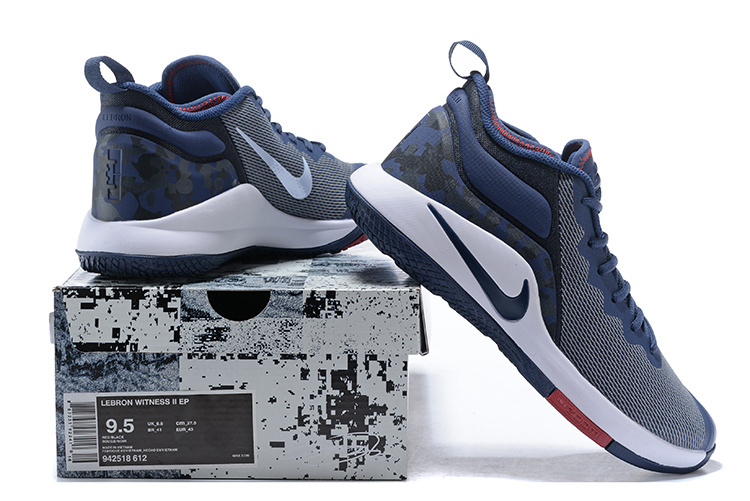 bbd2e7a9cbc10 ... Lebron James Basketball Shoes›. Nike Lebron Witness II EP 2 Navy Blue  White ...