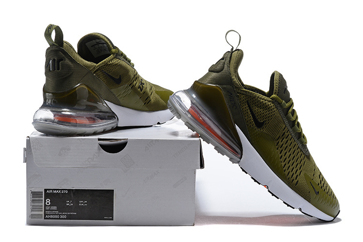 newest c4874 ebe38 Nike Air Max 270 Flyknit Army Green White Men's Running Shoes AH8050-300